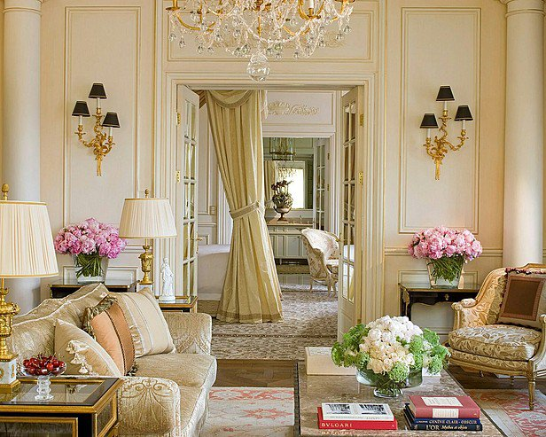 Gorgeous living rooms - cream French style living room with flowers, chandelier