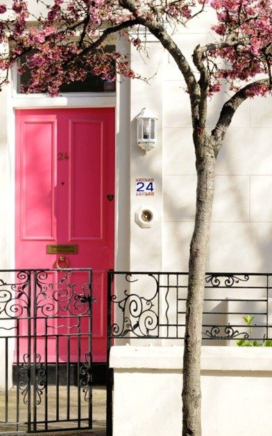Luscious pink front door white house blossom - mylusciouslife