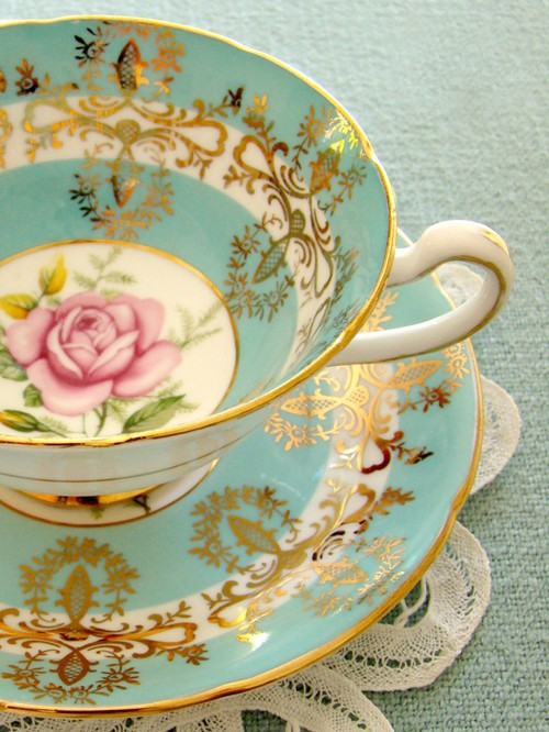 Tea cup - mylusciouslife - Tiffany blue, gold, floral