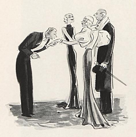 a glamorous life - man kissing ladies hand - 1920s cartoon