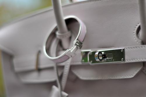 Grey Birkin bag by Hermes - details