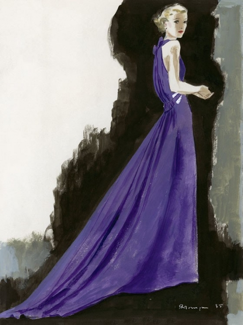 Lucien Lelong - Purple frock - luscious fashion illustration