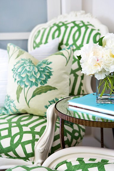 luscious decor - mylusciouslife.com - green and white trellis patterned chairs
