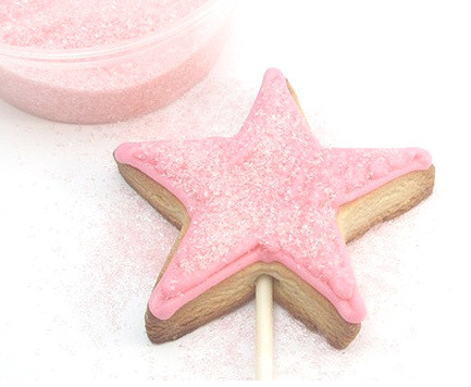 Pink star cake on a stick