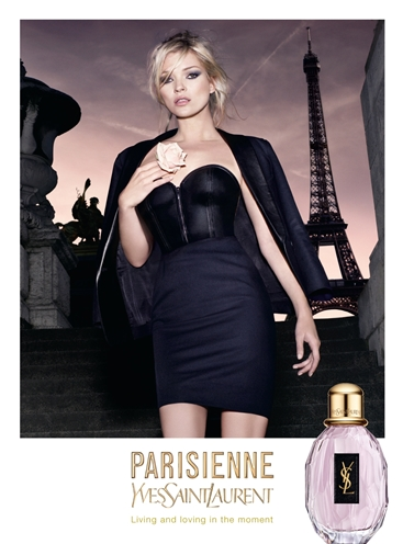 "Kate Moss in a perfume ad for YSL ""Parisienne"""