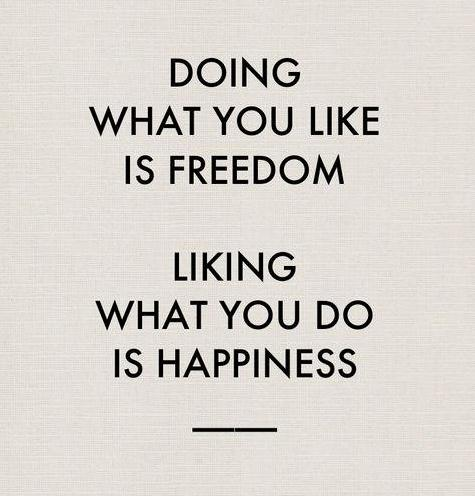 freedom and happiness quote - doing what you like is freedom quote - mylusciouslife