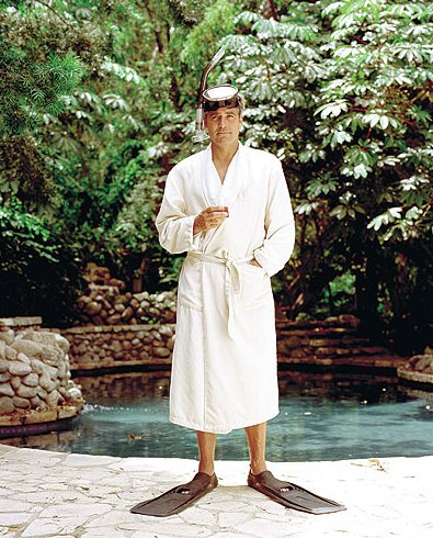Gorgeous George - George Clooney wearing bathrobe, flippers and googles