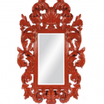 Bold red colored Hollywood Regency style mirror - Strong Baroque influence