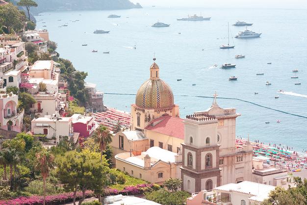 View of Positano - pastel colours