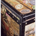 Vintage luggage - Vintage trunk covered in stickers