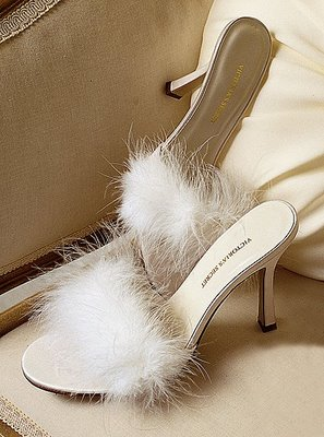 Boudoir-inspired feathered satin slippers