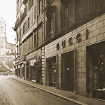The Gucci store near the Spanish Steps in Rome, Italy - black and white vintage