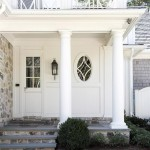 Beautiful houses and gardens - White traditional home entryway columns and front door