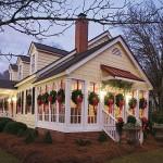 Luscious Christmas decor - house with wreath decor - evening