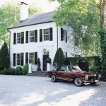 Exterior white house with black shutters