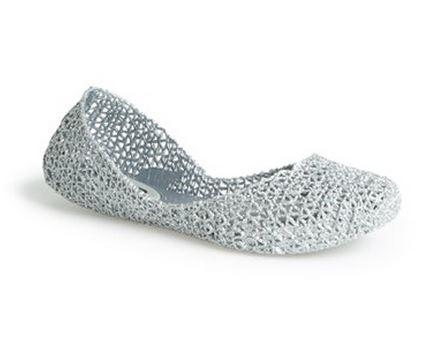 Melissa Campana Papel V silver glitter flat