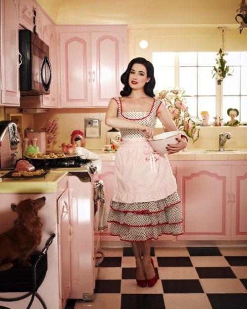 Dita von Teese in the kitchen