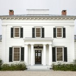 Traditional white weatherboard house with black trim - mylusciouslife.com