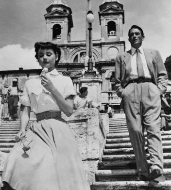 Audrey Hepburn as Princess Ann and Gregory Peck as Joe Bradley