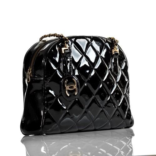 Chanel Vintage Black Patent Leather Shoulder Tote Bag