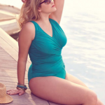 Evans Teal Wrap Swimsuit - Lingerie and swimwear for curvy girls