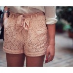 Pictures of lace - pale pink lace shorts