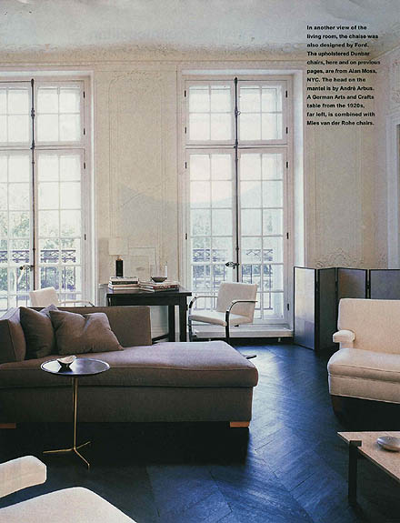 Tom Ford - apartment in Paris - House and Garden January 1998