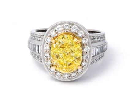 Canary yellow oval engagement ring