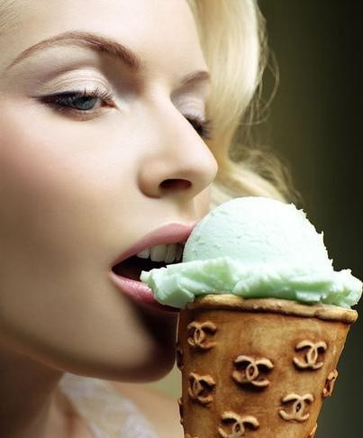 Chanel cone with minty ice cream