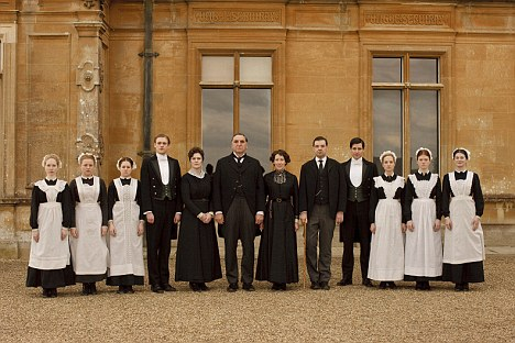 Downton Abbey servants lined up outside