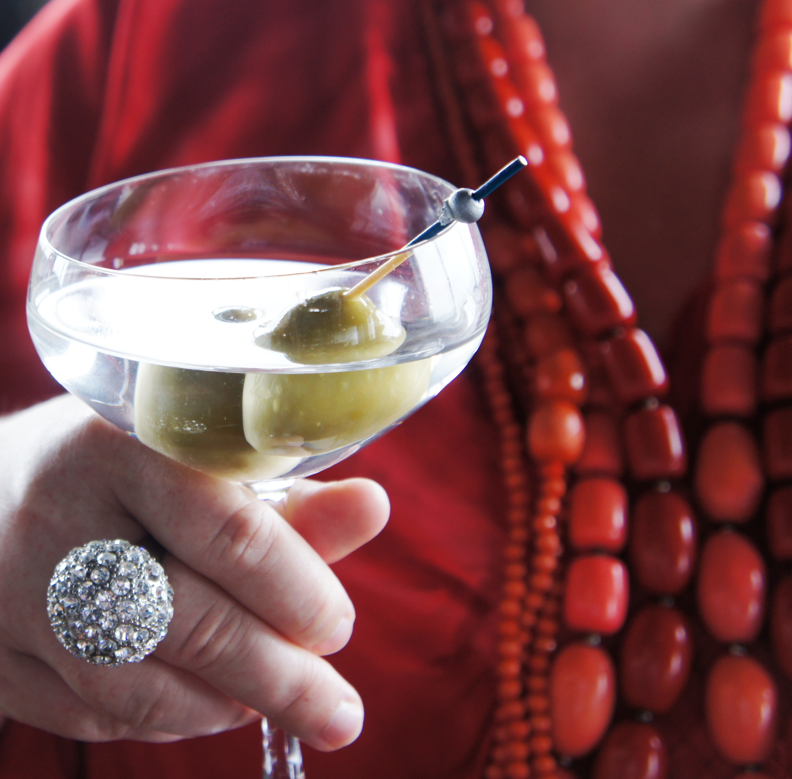 Coral beads, bling ring and a martini with olives at Lui Bar via mylusciouslife