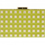 Elie Saab Grid Box Clutch in chartreuse yellow green