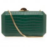 Elie Saab Rectangle Aligator Clutch Bag in green