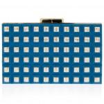 Elie Saab blue gold Grid Box Clutch