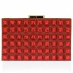 Elie Saab grid clutch in red