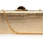 Elie Saab gold Aligator Print Clutch Bag