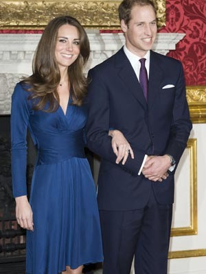 Kate Middleton in blue Issa dress on her engagement to Prince William of Wales