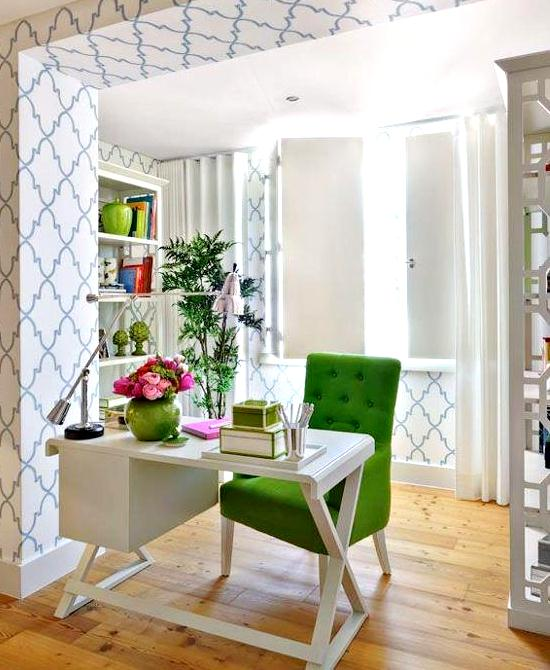 Kelly green color decor feng shui interior design the - Home office decor ideas ...
