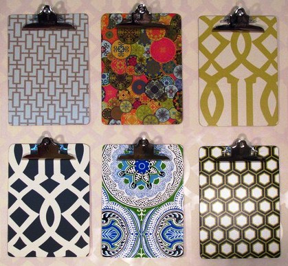 Wallpaper covered clip boards
