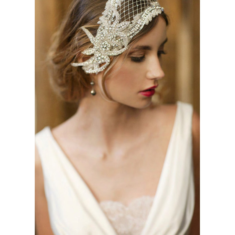 1920s wedding hair - 1920s wedding veil and dress ideas