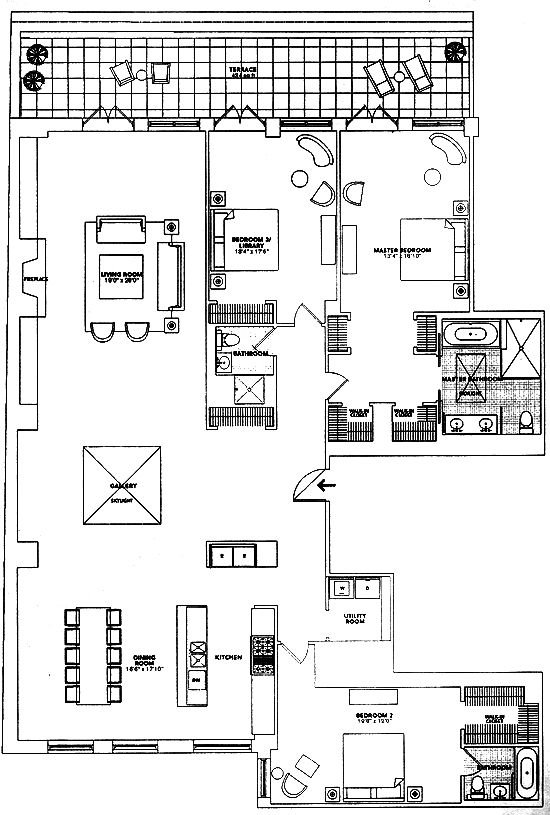 Floor plan for River Lofts penthouse Tribeca