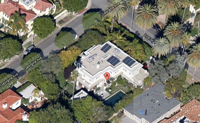 Gwyneth Paltrow - map view of Santa Monica childhood home