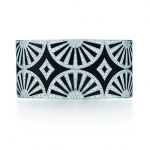 Tiffany Deco Fan bangle in platinum and black lacquer with diamonds - The Great Gatsby collection