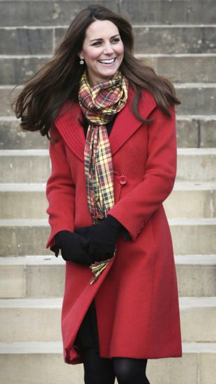 Kate Middleton style - maternity clothes - in a red Armani coat in Scotland