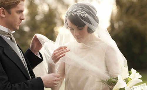 mary and matthew's wedding in downton abbey - 1920s wedding