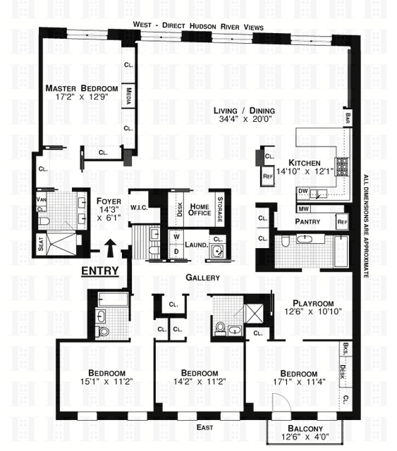 tribeca river lofts 5cb floorplan