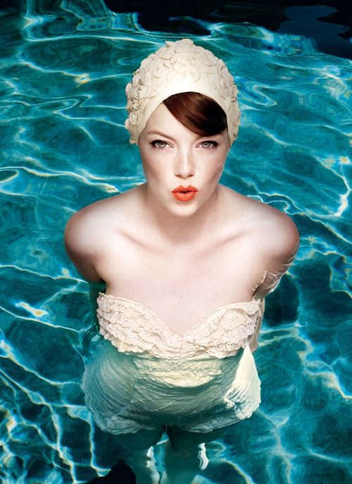 Beach pool board pinterest - Emma Stone - retro swimsuit photo
