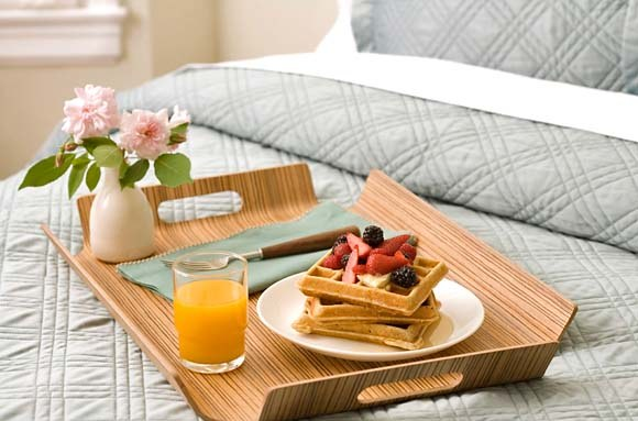 Breakfast in bed - waffles berries juice