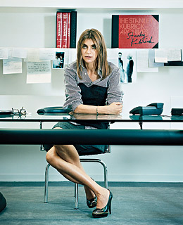 Carine Roitfeld in the Vogue Paris offices with her Le Corbusier desk