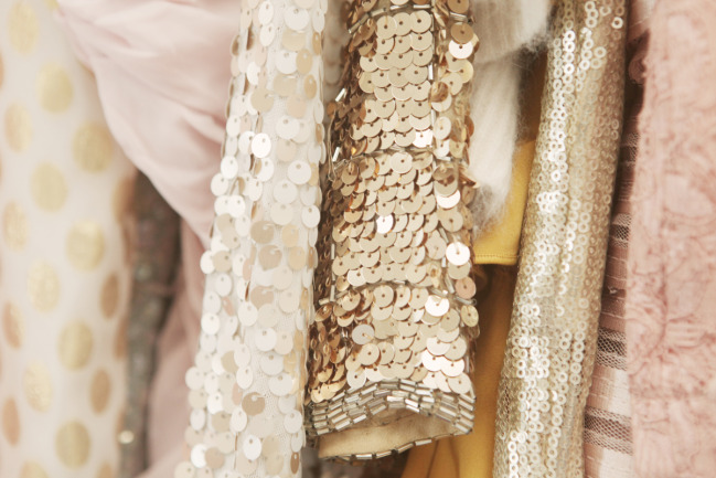 Pretty luscious frockage with gold sequins and pink
